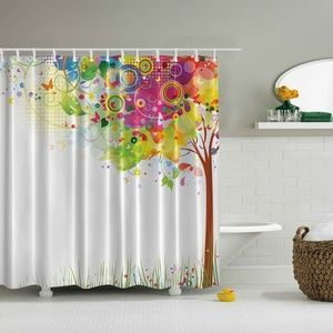 Shower Curtain Multi Colored Life Tree Print